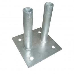 Platine à 2 tubes pour clôture mobile